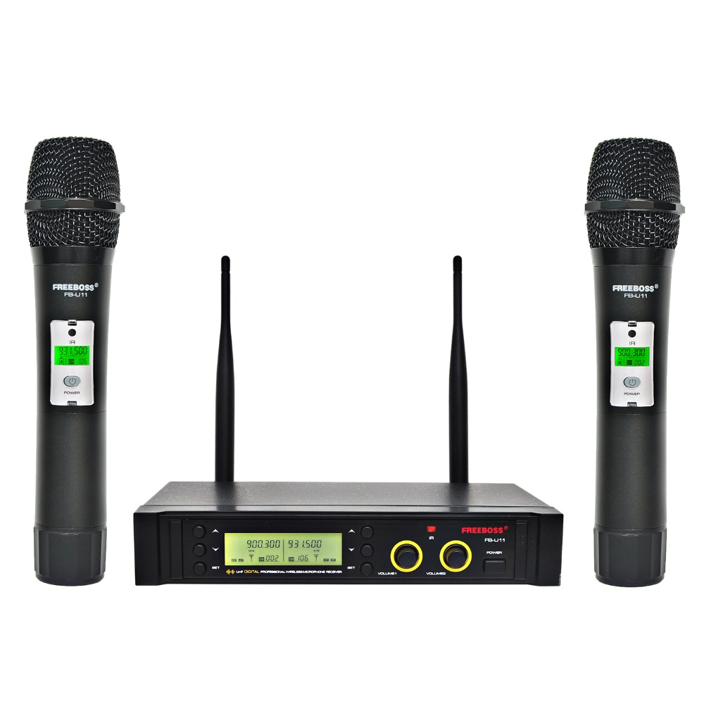 Freeboss FB-U11 UHF Wireless Microphone System 2 way 100 Channels IR Frequency Wireless Mic Karoke KTV Party Dynamic Microphone bardl us 132 2 channels uhf infrared frequency lcd 200 frequency adjustable wireless microphone handheld lavalier headset