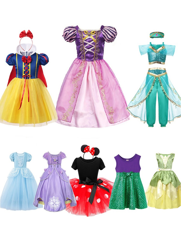 MUABABY Cinderella Costume Party-Dress Moana Sofia Tiana Rapunzel Fancy Elsa Mickey Little-Girl