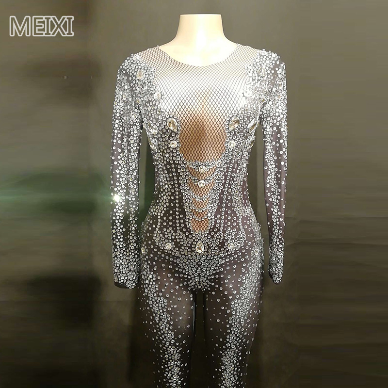 Sparkly Black Mesh Print Rhinestone Jumpsuit Birthday Party Nightclub Bar Concert DJ Singer/dancer Costume