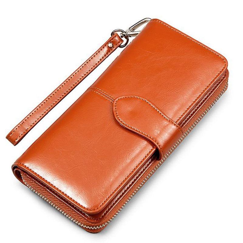 Hot Selling! Wallet Women Wallets Brand Long Design Women's Clutch Bag Oil Wax Leather Coin Purse Business Card Holder bolsas