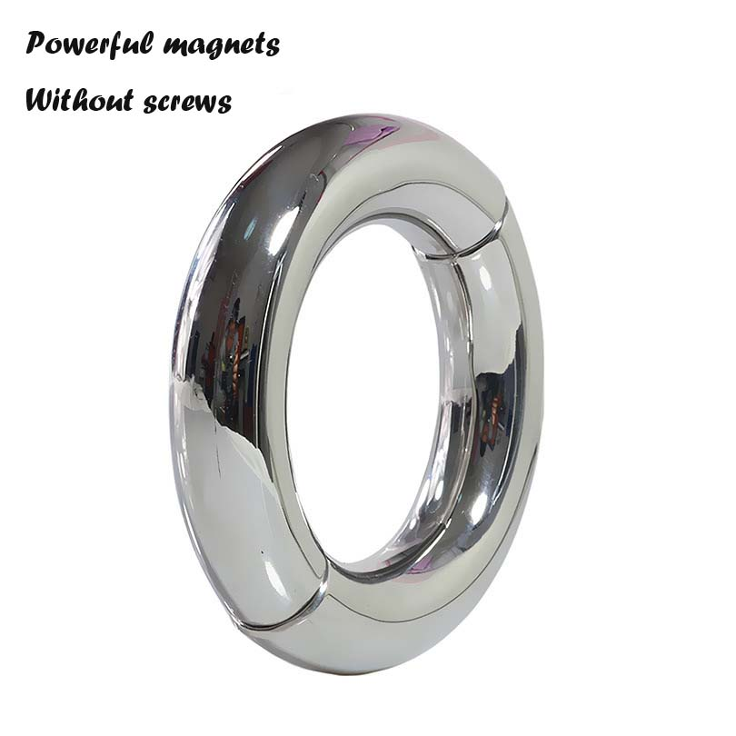 Newest stainless steel penis ring magnet open close cock ring metal scrotum bondage ball stretcher sex ring for men sex products metal stainless steel scrotum bondage penis weight pendant cock ring ball stretcher cockring sex toys for men adult products