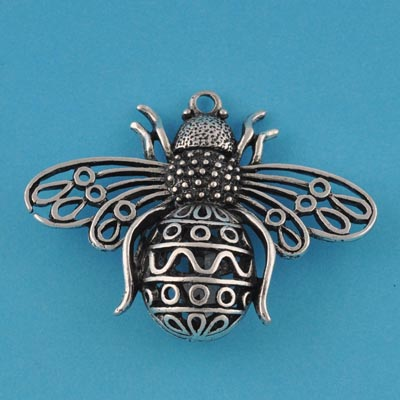 50 pcs Vintage filigree cast bee Antique Silver hollow metal pendant 39*51mm