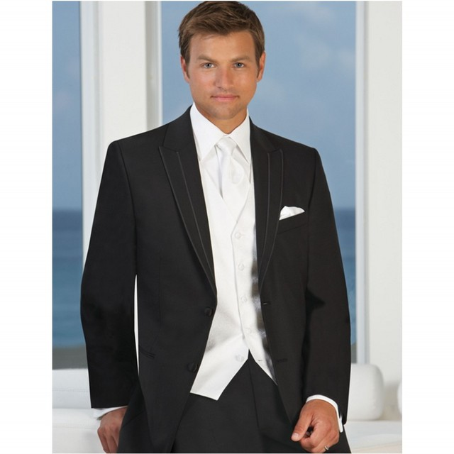 High Quality Western Style Men Suits Tuxedos Groomsman Three piece ...