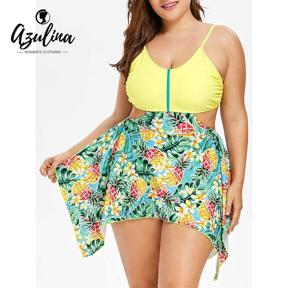 AZULINA 2018 Nuovo Ananas Tropicale Plus Size Asimmetrico Tankini Set Sexy Delle Donne Costume Da Bagno Fazzoletto Maillot De Bain Femme