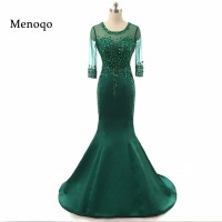 Elegant Women Robe De Soiree Mermaid Beaded Crystal Sheer Sleeves Satin Long Train Emerald Green Prom
