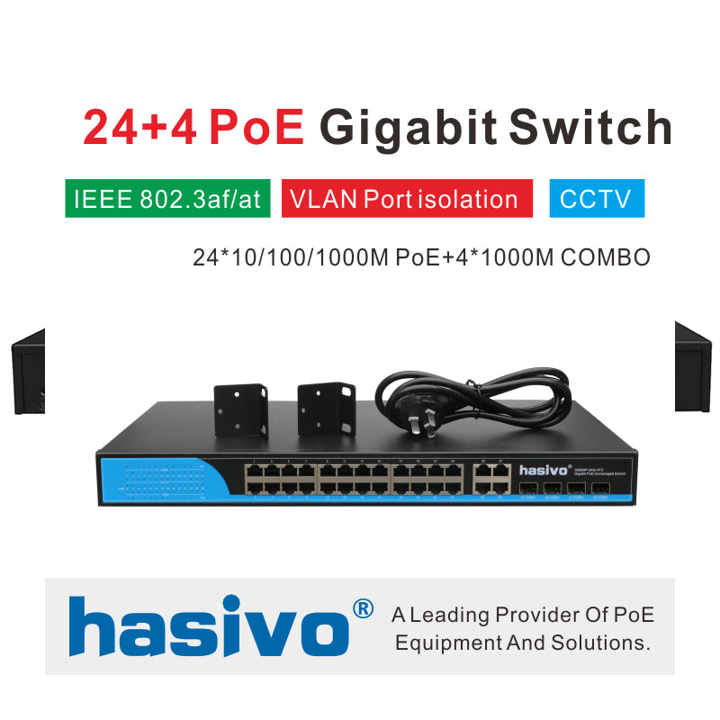 24 Ports POE Switch With 4 Gigabit SFP COMBO 24 PoE 4 SFP fiber Ports Gigbit PoE Ethernet Network Switch 1000Mbps  RackmountNetwork Switches   -