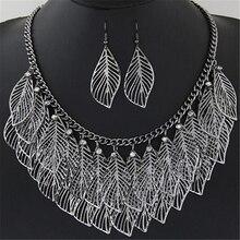 Luxury Leaves Statement Maxi Necklace & Earrings Women's Jewelry Set