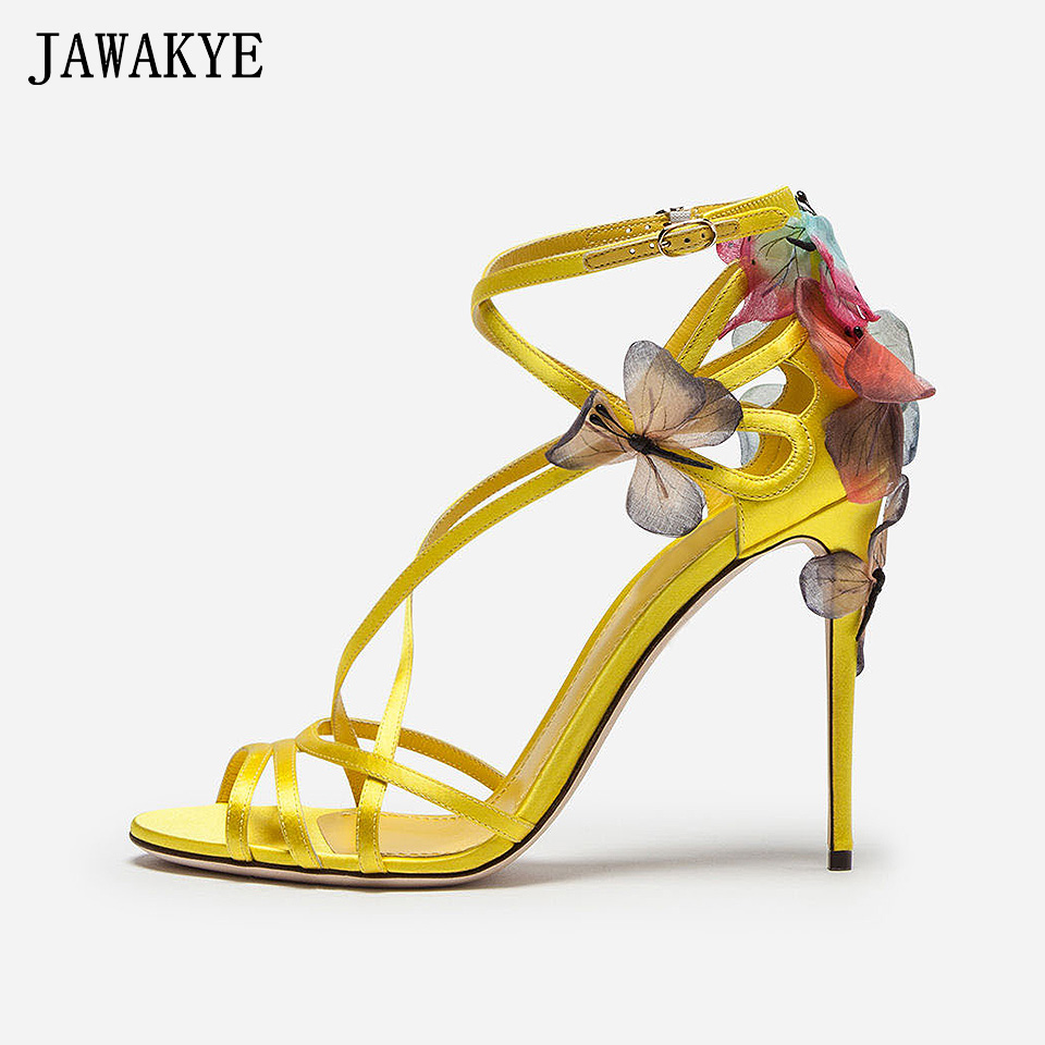 New Sexy Open Toe Silk Strappy Gladiator Sandals Women dreamy Butterfly High Heel Shoes Party Summer Shoes Sandalias mujer 2018 2017 summer women sexy gold chains strappy open toe stiletto heel nightclub party high heel sandals dress shoes ladies