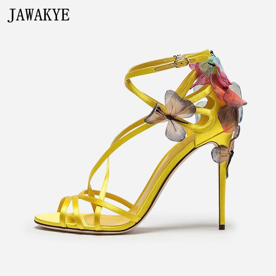 Nouveau Sexy Soie à Bout Ouvert À Lacets Gladiateur Sandales Femmes rêveur Papillon Chaussures À Talons Hauts Parti Chaussures D'été Sandalias mujer 2018