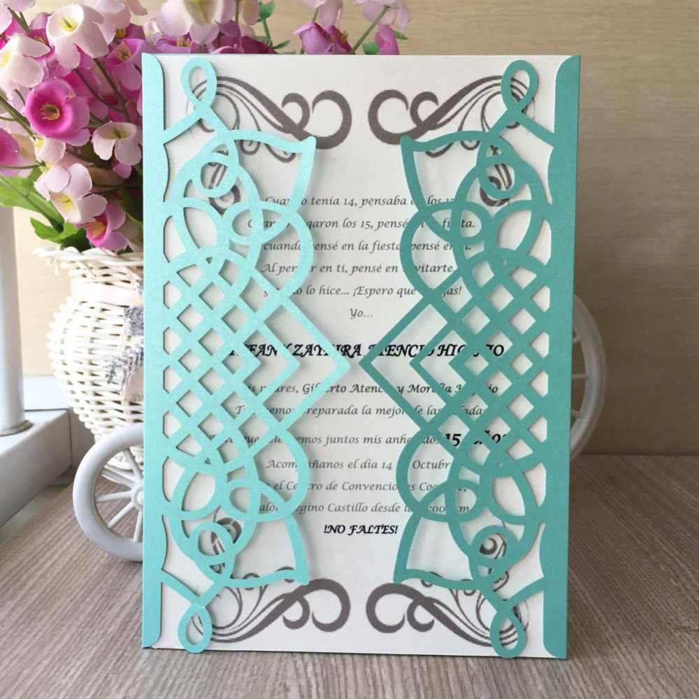 30pcs Chic Tiffany Blue Color Shiny Paper Wedding Invitations Card Name Business Invite Decoration