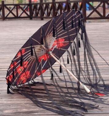 Silk Cloth Lace Umbrella Women Costume Photography Props Tasseled Umbrella Yarned Chinese Classical Oil-paper Umbrella Parasol