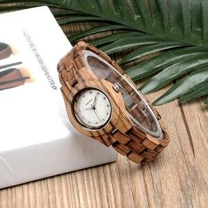 Image 3 - Bobo pássaro relógio feminino único de bambu de madeira jam wanita unik moda quartzo relógios de pulso na caixa presente V O29