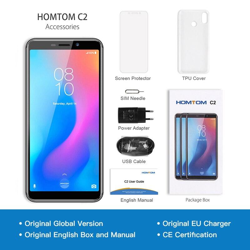 Original HOMTOM C2 Android 8.1 2GB + 16GB ROM téléphone portable identification faciale MTK6739 Quad Core 13MP double caméra OTA 4G FDD-LTE Smartphone - 6