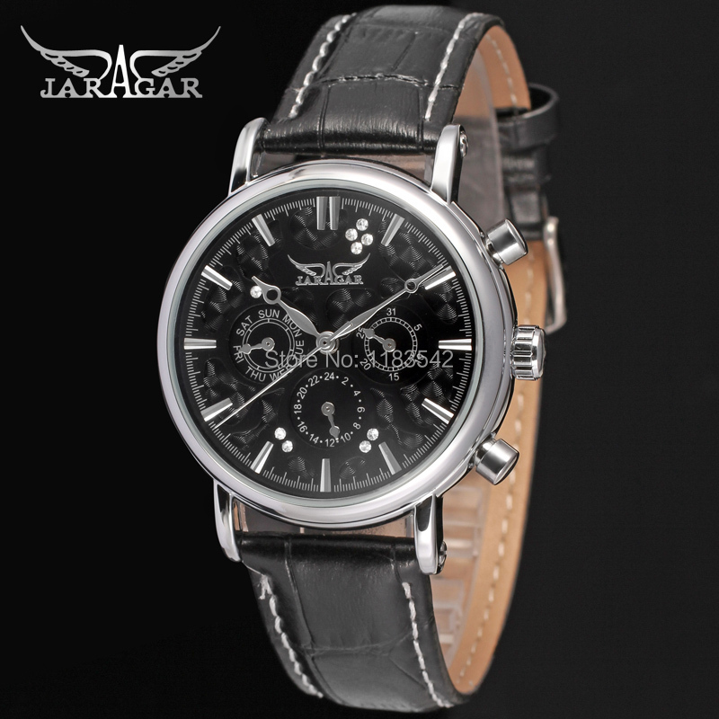 Подробнее о Jargar JAG6348M3S5 new men Automatic  fashion dress wristwatch silver color watch black leather strap free shipping jargar jag6070m3s2 new men automatic fashion watch silver wristwatch for men with black leather strap best gift free ship