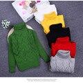 Niñas Suéter Suéter de Cuello Alto de Punto para Niño Niños Géneros de Punto 2016 Otoño Invierno Pullover Niños Suéter Ropa de Los Niños