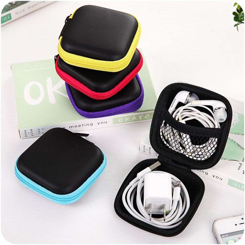 Mini Headphone Zipper Case Portable Mini Hard Storage Case Bag For Earphone Headphone SD TF Cards Travel  Accessories