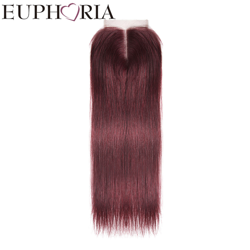 Red Wine 99J# Color Straight 4X4 Lace Closure Free/Middle Part 100% Brazilian Human Hair Remy Hair For EUPHORIA Free Shipping
