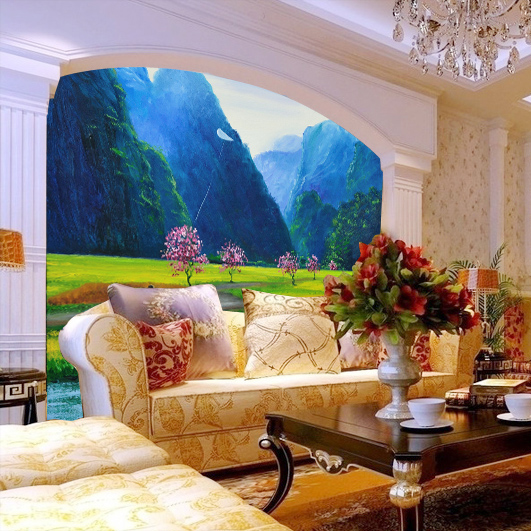 Living room sofa bedroom tv backdrop wall paper 3d for Wallpaper for large rooms