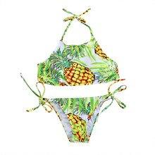 7740dc7b05 Women's Pineapple Printing Halter Padding Bikini Set Beach Swimwear Sexy  Biquini Swimsuit(China)