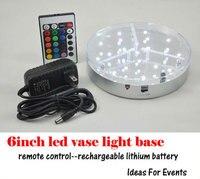 DHL libero Battery Operated Multi colori da 6 pollici RGB HA CONDOTTO LA luce Vaso base con 5 V AU STATI UNITI REGNO UNITO UE Adattatore di alimentazione