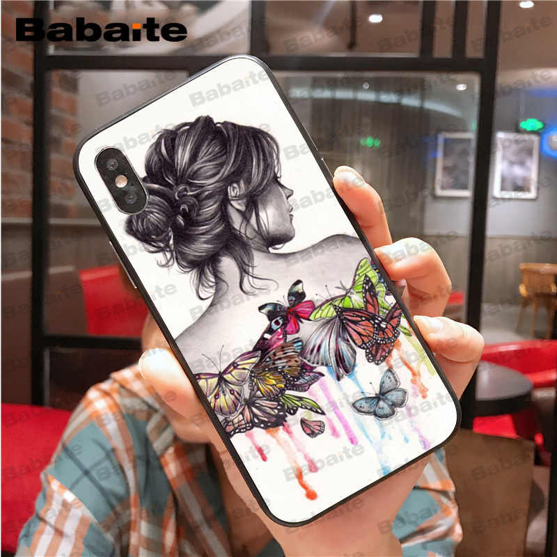 brand new d5236 1f7c3 Red butterfly white stone roses flower Fundas Phone Case Cover for iPhone X  XS MAX 6 6s 7 7plus 8 8Plus 5 5S SE XR Babaite