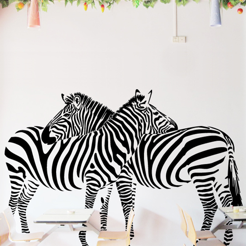 Huge zebra vinyl wall decal sticker mural art home mural for living room decor wall stickers zebra print t1155 in wall stickers from home garden on