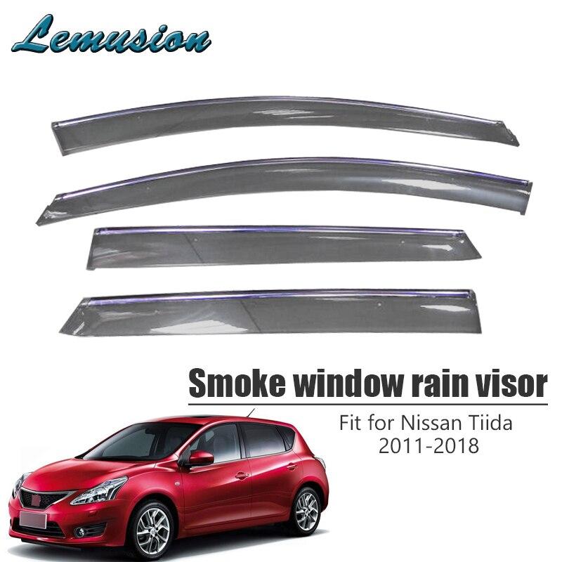 High Quality 4pcs Smoke Window Rain Visor For Nissan Tiida C12 2011 2012 2013 2014 2015