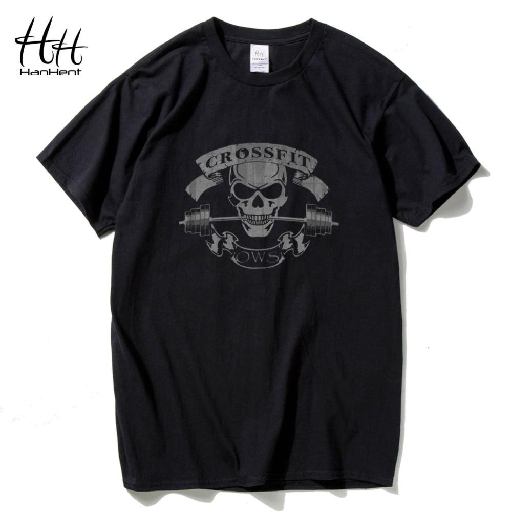 HanHent Yeni Moda Tees Crossfit Kafatası T Shirt Erkekler Spor - Erkek Giyim - Fotoğraf 1