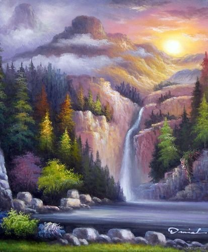 Mountain Waterfall Forest Sunset Clouds Pine Tree Oil On