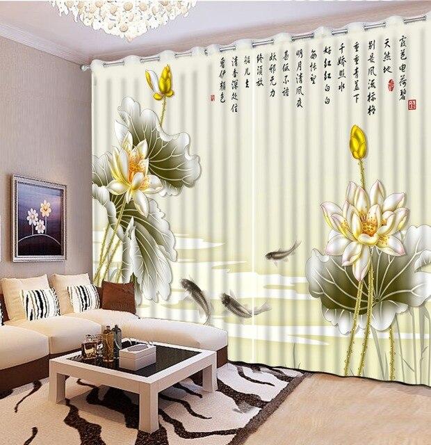 US $61.2 49% di SCONTO|Cinese nuovo spessore 3D Tenda soggiorno di loto  berief romantico 3D Finestra Tende Oscuranti Tende Camera Da Letto in  Cinese ...