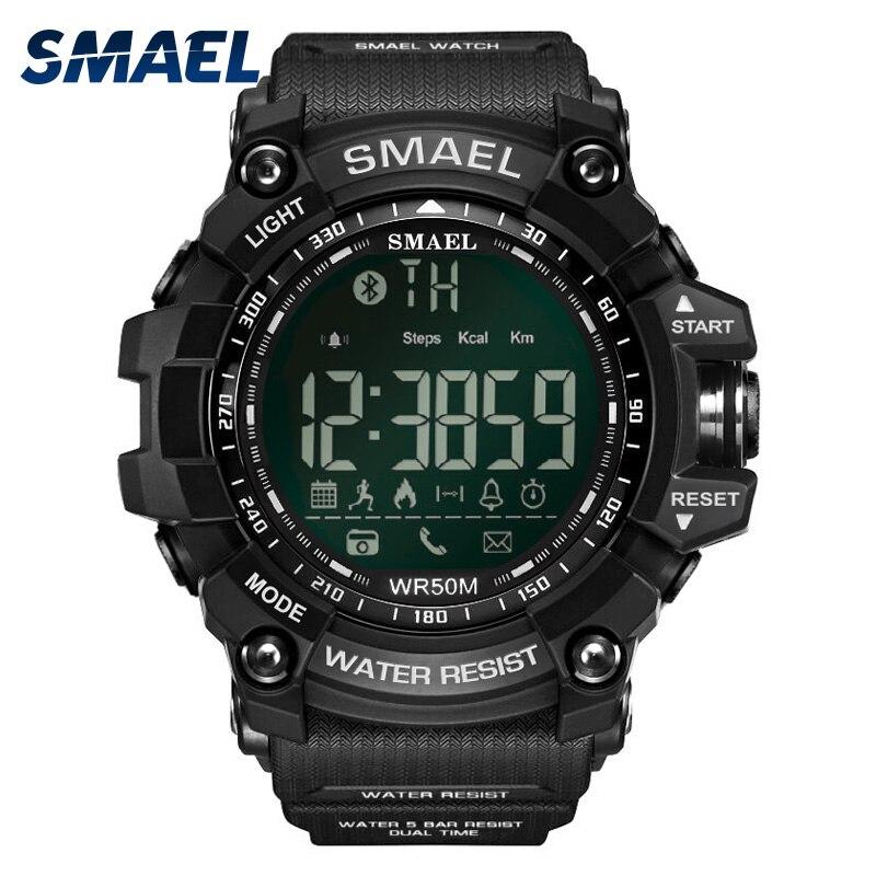 Smael Для мужчин наручные часы Смарт Спорт Водонепроницаемый Bluetooth Военная Униформа армии Мужской часы черный 1617B цифровой спортивные наручны…