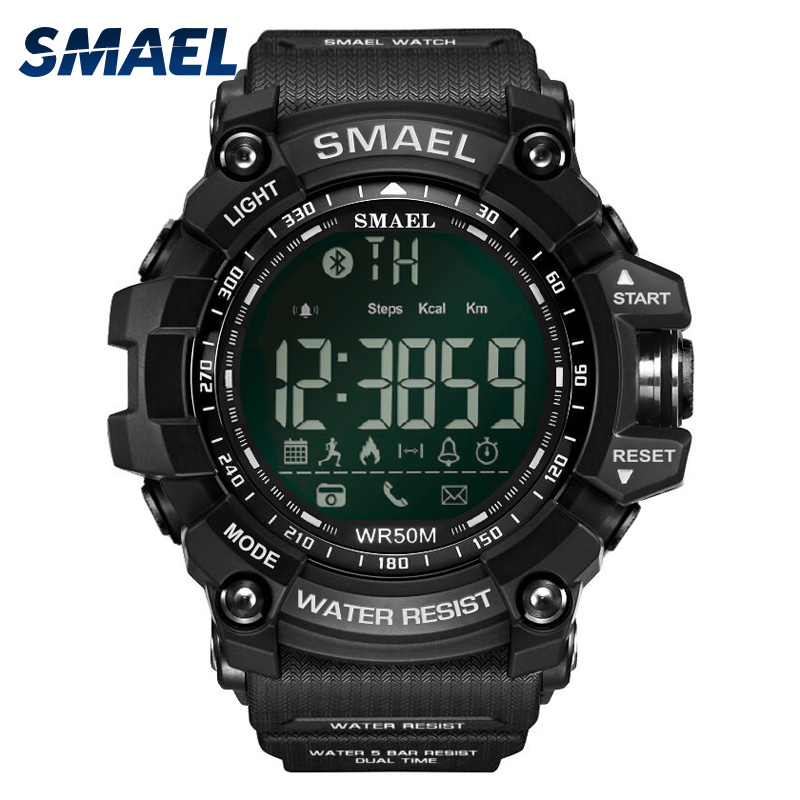Smael Sport Watch Men Clock Smart Waterproof Bluetooth Military Army Male Clock Black 1617B Digital Sport Wrist Watch Stopwatch