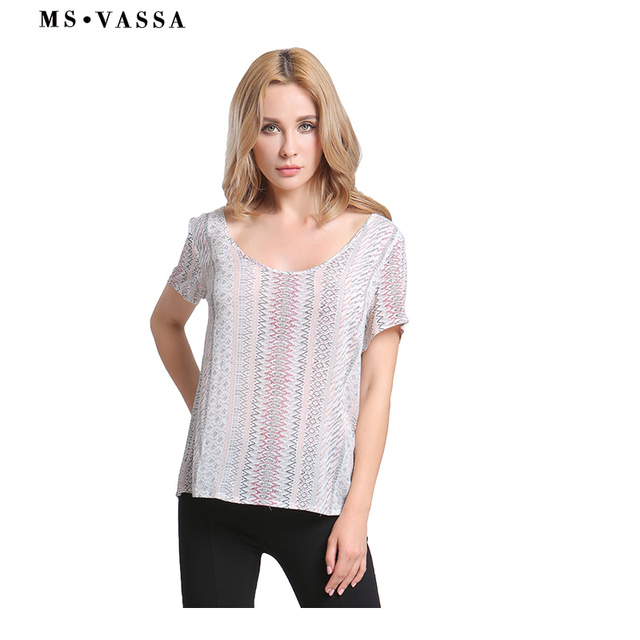 Tees Striped T-shirt Short Sleeve for Women  1