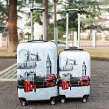 Vintage Style 20 24 Inches Hard Shell Travel Luggage Suitcase Special Printing ABS PC Cabin Case