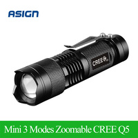 LED waterproof flashlight CREE Q5 2000lm Adjustable Zoomable LED linterna Portable Outdoor Mini lampe torche No 14500 battery