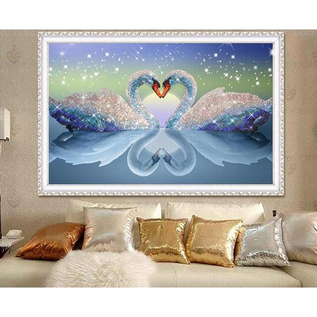 5d diy mosaic art needlework diamond painting swan rhinestone cross stitch  animal wedding crystal diamond swans embroidery e2c5a803d52b
