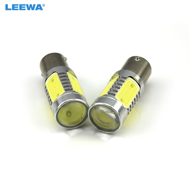 LEEWA 20pcs 1156 BA15S Car High Power Brake Turn Signal Light White 12V 7.5W with Lens White #CA3329