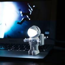 цена на USB Astronaut Night Light Computer Desk Lamp Night Light LED Flexible Spaceman Astronaut USB Tube For Computer Laptop For Child