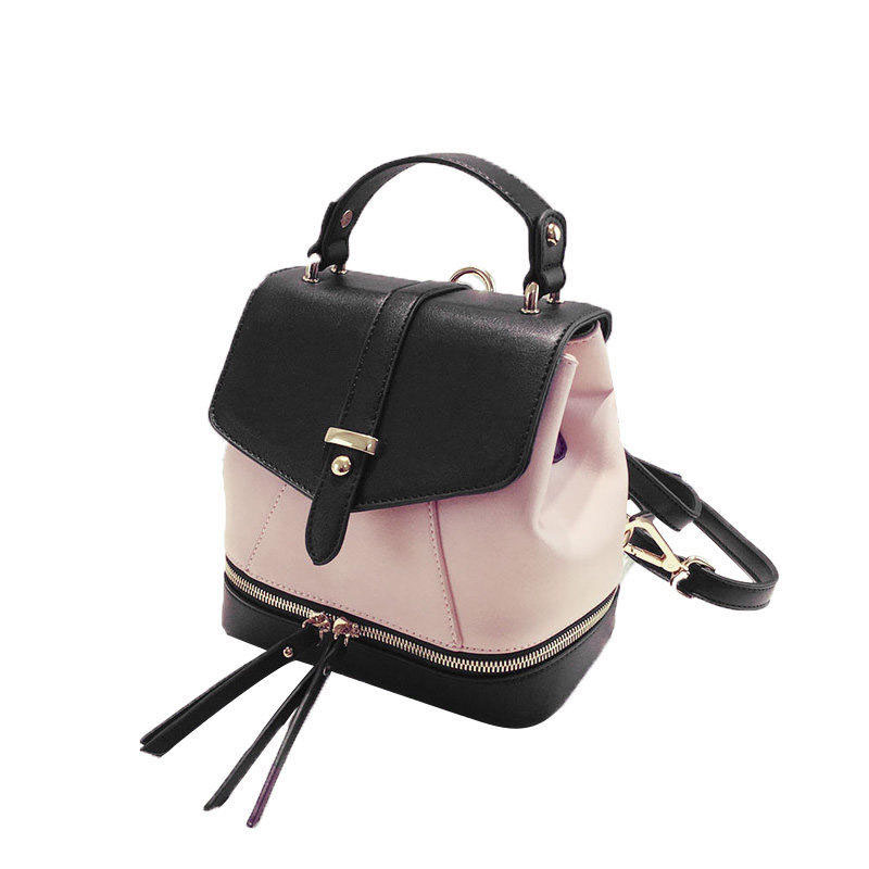Classy Contrast Color Daypack Ladies Zippers Ornament Shoulder Women Fashion Casual Japan Style Small Crossbody Bag