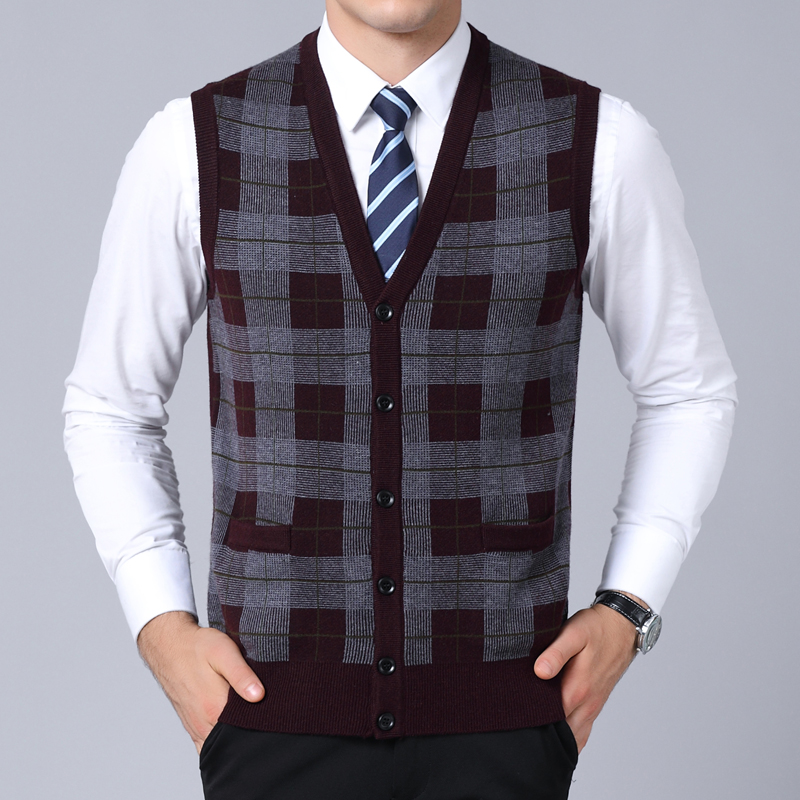 2019 New Fashion Brand Sweater Man Pullover Plaid Slim Fit Jumpers Knitred Sleeveless Winter Korean Style Casual Men Clothes