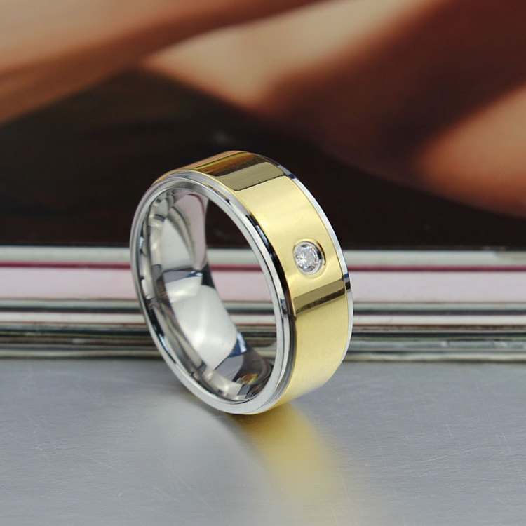 CZ 8MM Stainless Steel Wedding Band Ring Gold Color with Silver