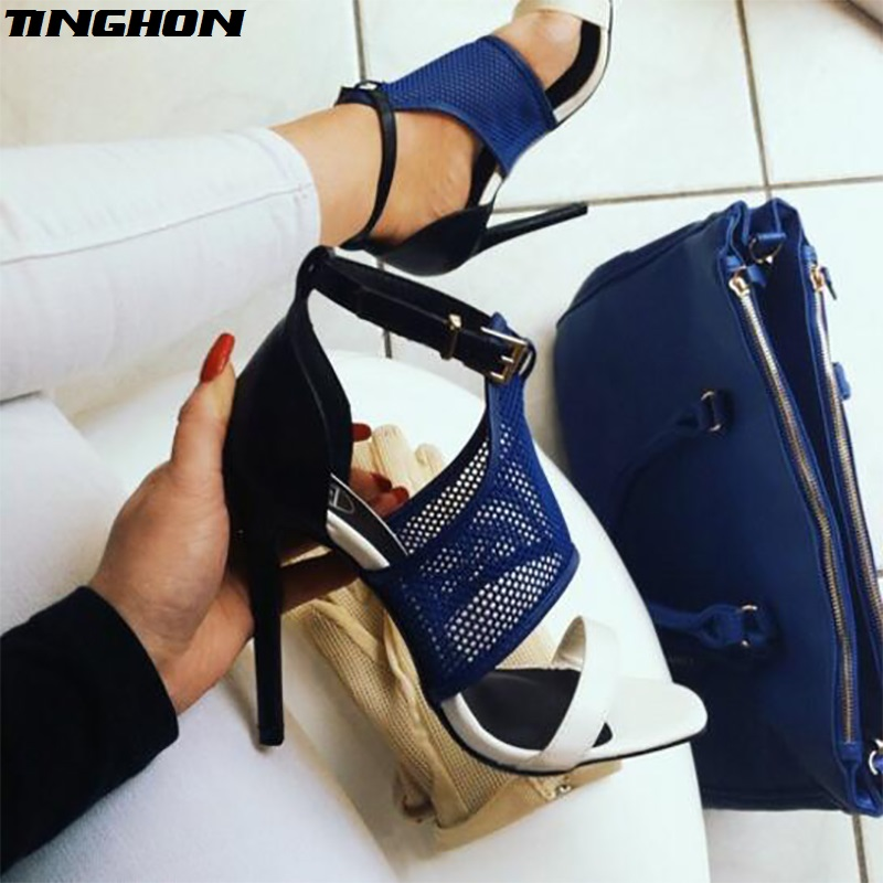 TINGHON Fashion Women Pumps Peep Toe Mixed Color High Heels Woman Buckle Strap Thin Heel Mesh Black Blue in High Heels from Shoes