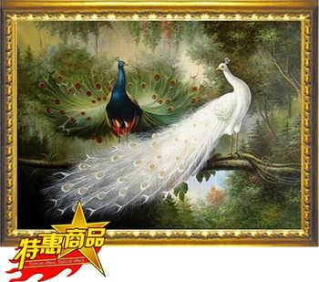 90*70cm bordado DIY Cruz puntada completo kit juego de bordado bosque amor pájaro Pavo Real-animales decoración pintura al por mayor