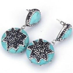 El yapımı Mavi Turquoises Howlite Taş Charm Açacağı Yıldız Şekli Siyah Beyaz Rhinestone Çiviler Dangle Bildirimi Küpe Kadınlar Için