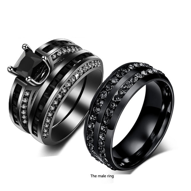 811807f9e1 2017 New Hot Couple Fashion Jewelry 10KT Black Gold Filled Stainless Steel  5A CZ Zirconia Wedding Engagement Men Lovers Ring set