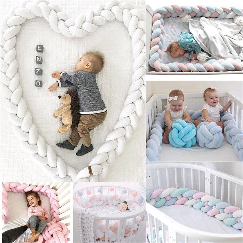 Parachoques de cama de bebé de 2M de longitud, 4 trenzas de decoración para cama de bebé, nudo de felpa puro, Protector de parachoques para cuna, decoración de habitación infantil