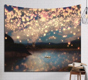 Image 3 - CAMMITEVER Psychedelic Beautiful Stars Starry Sky Fabric Wall Hanging Tapestry Decor Polyester Curtains Plus Long Table Cover