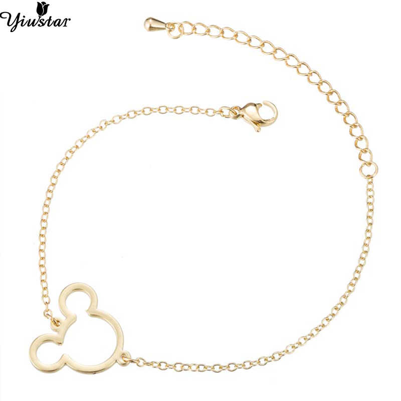 Yiustar אלגנטי מיקי קסם צמידים וצמידים לנשים תכשיטים מיני פשוט עכבר תליון מיקי צמיד מתנה עבור ילדה