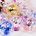Прозрачные воздушные шары 10 шт./лот, шары из фольги под розовое золото с конфетти, прозрачные шарики на 1-й день рождения, шарики для гелия для...