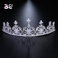 Be 8 High Quality AAA Cubic Zirconia Copper Tiaras and Crowns Flower Shape Women Wedding Hair Accessories for Bride H132